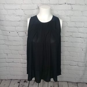 Fun 2 Fun black sleeveless A-line blouse Sz M